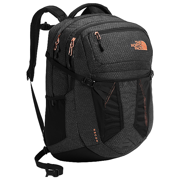 The North Face Recon Womens Backpack (Previous Season), TNF Black Heather-Burnt Coral, 600