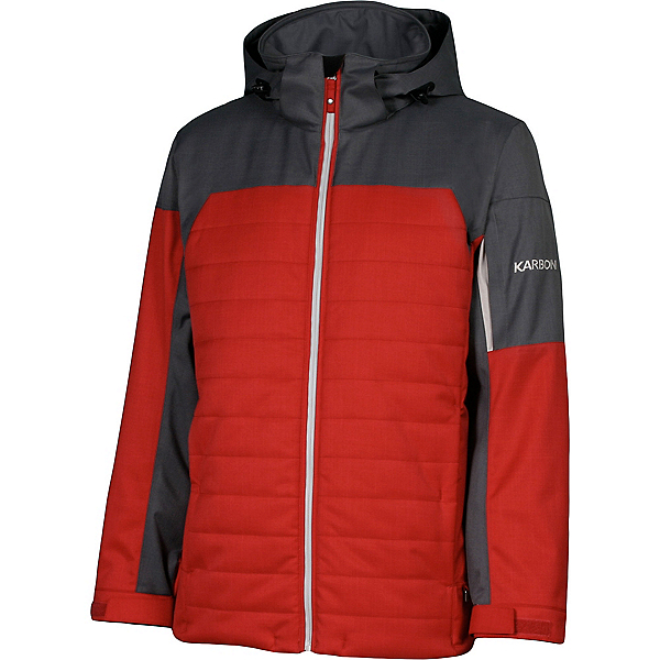Karbon Coal Mens Insulated Ski Jacket, Red-Charcoal-Platinum-Platinum, 600