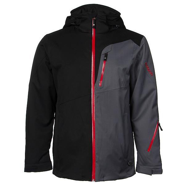 Karbon Shale Mens Insulated Ski Jacket, Black-Charcoal-Red, 600