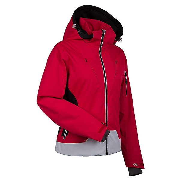 NILS Fran Womens Insulated Ski Jacket, Red-Black-Silver, 600