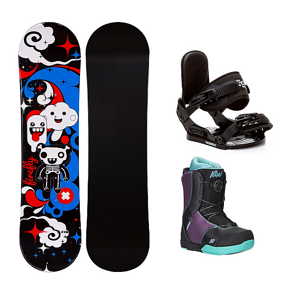 Firefly Explicit Black Kat Boa Girls Complete Snowboard Package, , 600