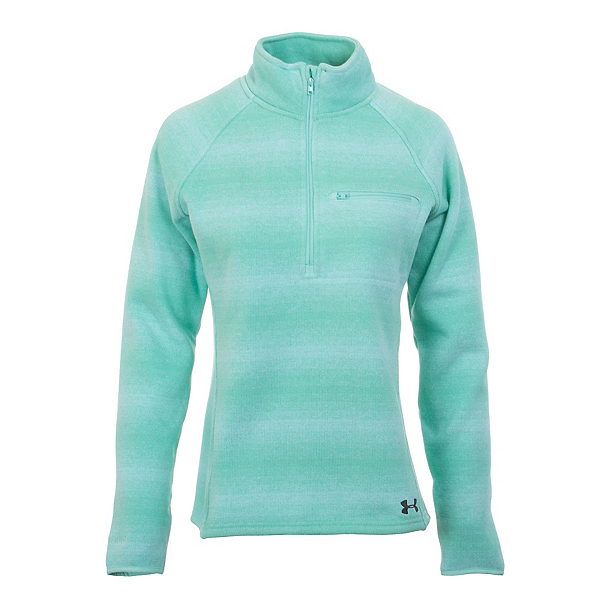 Under Armour Wintersweet Half Zip Womens Mid Layer, Crystal-Aqua Falls-Stealth Gra, 600