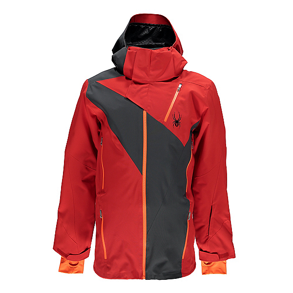 Spyder Highlands Mens Insulated Ski Jacket (Previous Season), Red-Polar-Bryte Orange, 600