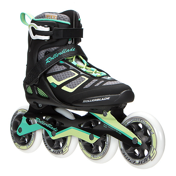 Rollerblade Macroblade 100 Womens Inline Skates, Black-Light Green, 600