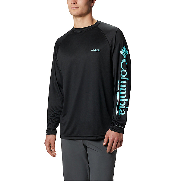 Columbia Terminal Tackle Long Sleeve Mens Shirt, Black-Gulf Stream, 600