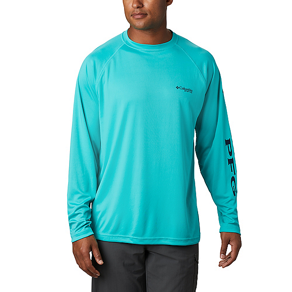 Columbia Terminal Tackle Long Sleeve Mens Shirt, Bright Aqua-Collegiate Navy, 600