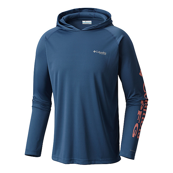 Columbia PFG Terminal Tackle Mens Hoodie, Night Tide-Salmon, 600