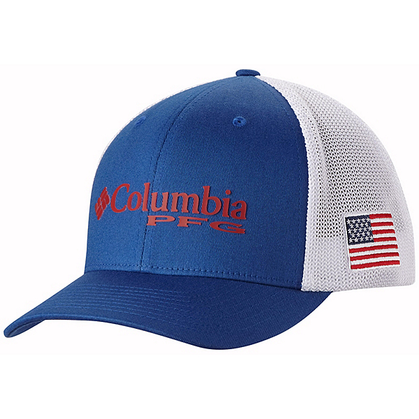 Columbia PFG Mesh Hat, Mountain Blue-Usa Flag, 600