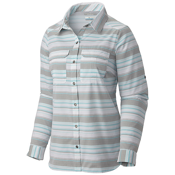 Columbia Pilsner Peak Stripe Long Sleeve Womens Shirt, Cypress Stripe, 600