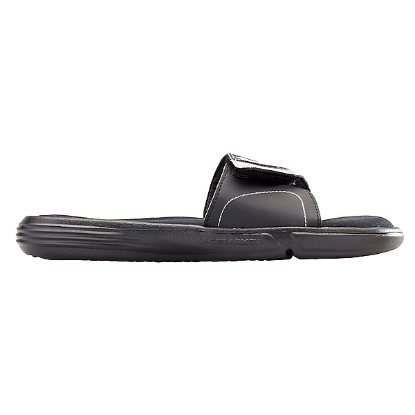 Under Armour Ignite VII Slide Womens Flip Flops, Black-Metallic Silver, 600
