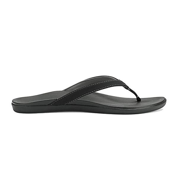 OluKai Hoopio Womens Flip Flops, Onyx-Onyx, 600