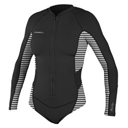 O'Neill SuperLite Hi-Cut Long Sleeve Womens Rash Guard, Black-Rio Stripe-Black, 256