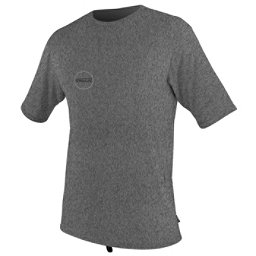 O'Neill Hybrid Short Sleeve Surf Mens Rash Guard, Black Logo, 256