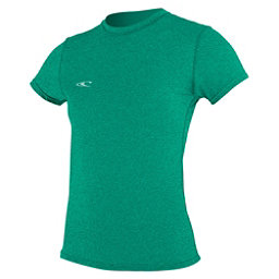 O'Neill 24-7 Hybrid Short Sleeve Tee Womens Rash Guard, Seaglass, 256