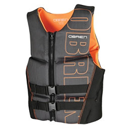 O'Brien Flex V-Back Neoprene Adult Life Vest 2017, Black-Orange, 256