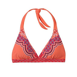 Prana Lahari Halter Bathing Suit Top, Neon Orange Jasmine, 256