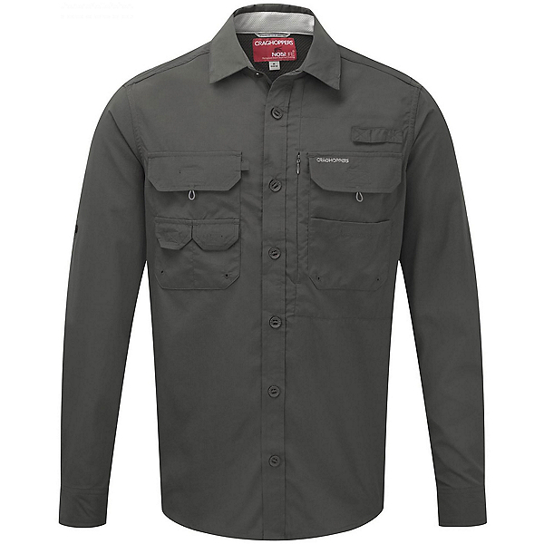 Craghoppers NosiLife Long Sleeved Angler Mens Shirt, Dark Khaki, 600
