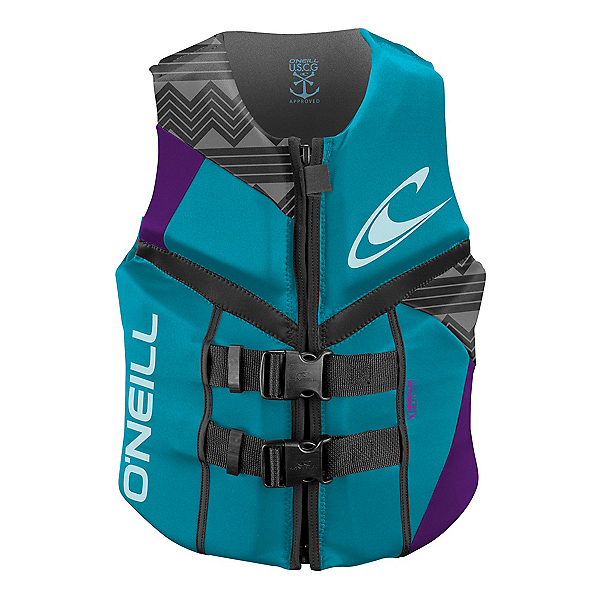 O'Neill Reactor USCG Womens Life Vest 2020, Turquoise-Ultraviolet-Graphite, 600