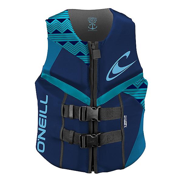 O'Neill Reactor USCG Womens Life Vest 2020, Navy-Riviera-Turquoise, 600