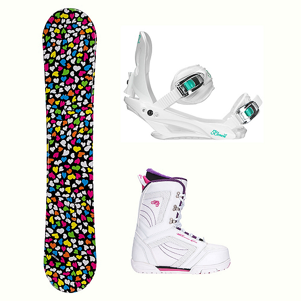 Joyride Hearts Black Cosmo Womens Complete Snowboard Package, , 600