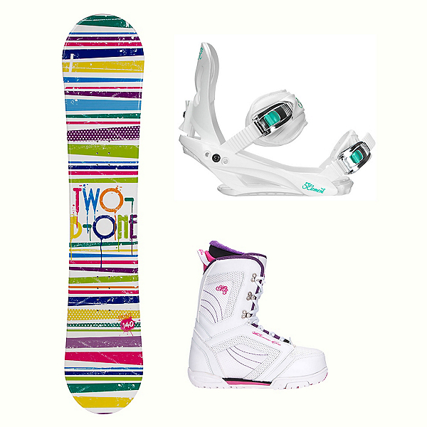 2B1 Paint White Cosmo Womens Complete Snowboard Package, , 600