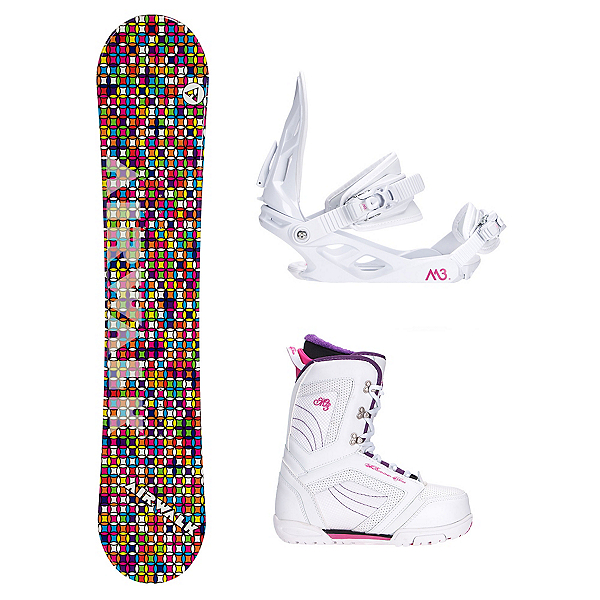 Airwalk Kaleidoscope White Cosmo Womens Complete Snowboard Package, , 600