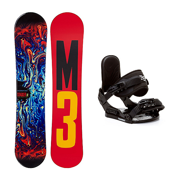 Millenium 3 Stagger 4 Stealth Kids Snowboard and Binding Package, , 600