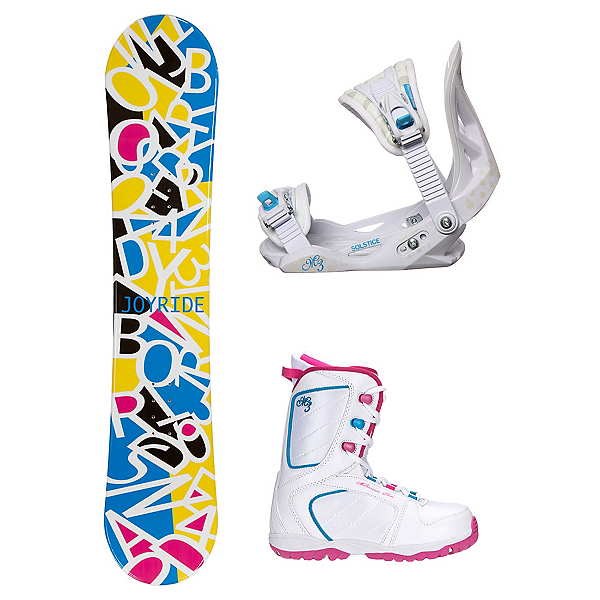 Joyride Letters White Venus XIII Girls Complete Snowboard Package, , 600