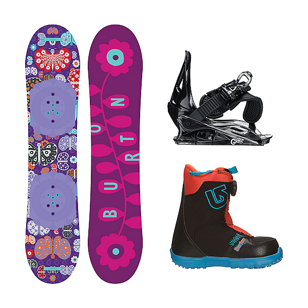 Burton Chicklet Grom Boa 2 Girls Complete Snowboard Package, 120cm, 600
