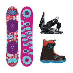 Burton Chicklet Grom Boa 2 Girls Complete Snowboard Package, 125cm, 256