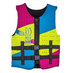 Ronix August Youth Junior Life Vest 2018, Neon-Pink-Blue, 256