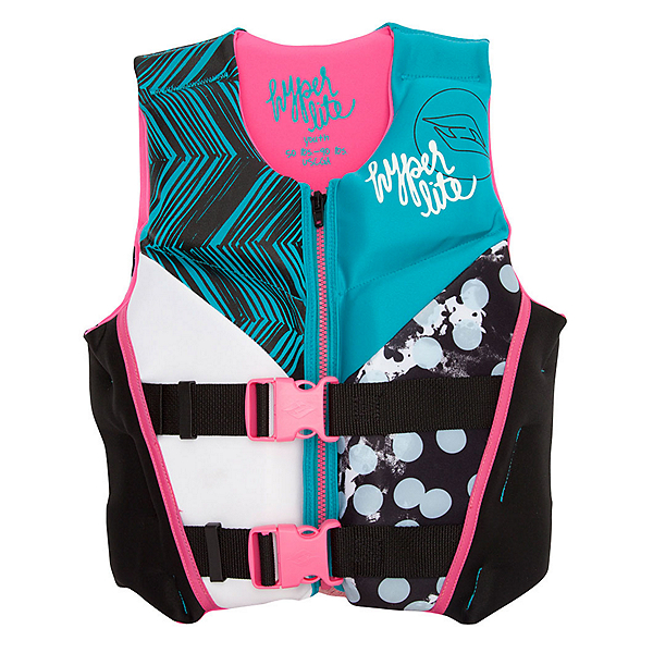 Hyperlite Youth Indy Neo Girls Junior Life Vest, Black-Turquise, 600