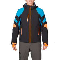 Spyder Verbier Mens Insulated Ski Jacket, Black-Electric Blue-Bryte Oran, 256