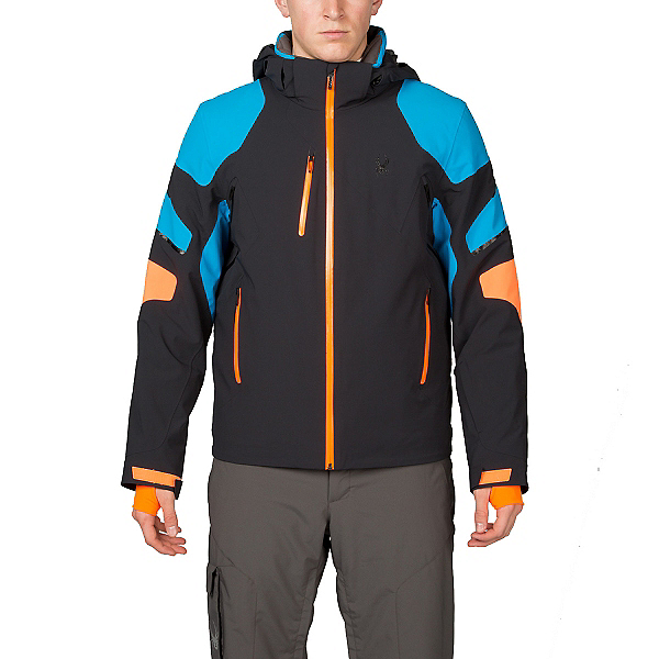 Spyder Verbier Mens Insulated Ski Jacket, Black-Electric Blue-Bryte Oran, 600