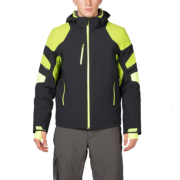 Spyder Verbier Mens Insulated Ski Jacket, Black-Theory Green-Bryte Yello, 600
