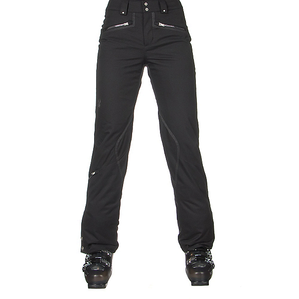 Spyder ME Tailored Fit Short Womens Ski Pants, Black Tech Flannel, 600