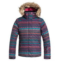 Roxy American Pie w/ Faux Fur Girls Snowboard Jacket, Geo Stripe, 256