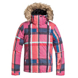 Roxy American Pie w/ Faux Fur Girls Snowboard Jacket, Mauna Plaid, 256