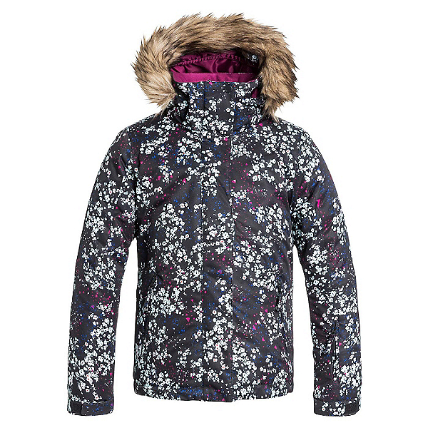 Roxy American Pie w/ Faux Fur Girls Snowboard Jacket, Ditsy Floral, 600