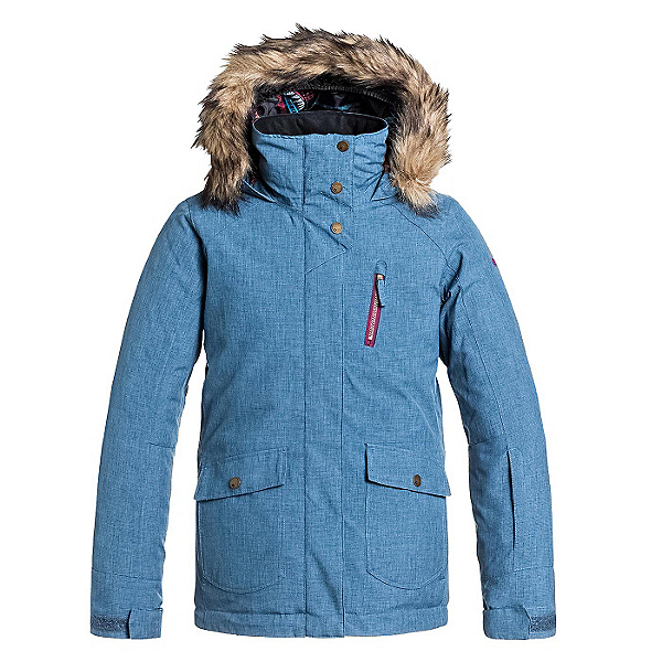 Roxy Tribe w/ Faux Fur Girls Snowboard Jacket, Ensign Blue, 600