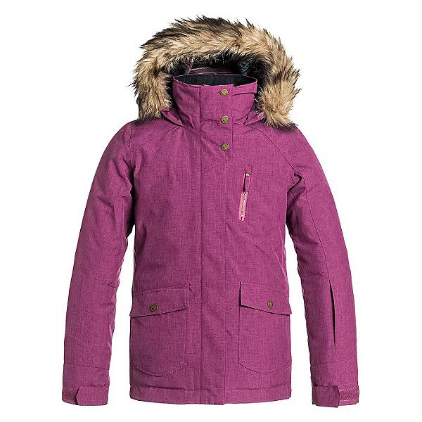 Roxy Tribe w/ Faux Fur Girls Snowboard Jacket, Magenta Purple, 600