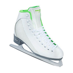 Riedell 113 Sparkle Womens Figure Ice Skates, White-Lime, 256