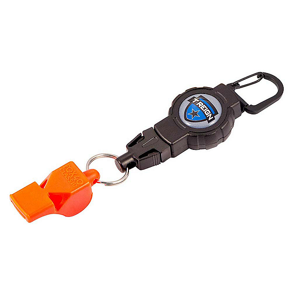 T-Reign Retractable Gear Tether with Fox 40 Safety Whistle, Black, 600