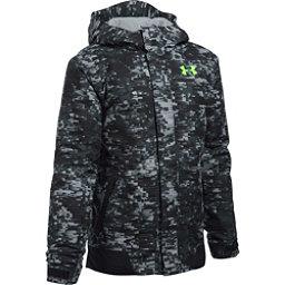 Under Armour ColdGear Infrared Powerline Boys Ski Jacket, Overcast Gray-Black-Fuel Green, 256