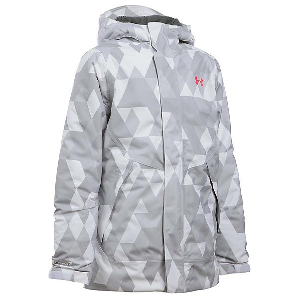 Under Armour ColdGear Infrared Powerline Insulated Girls Ski Jacket, White-Pink Chroma, 600