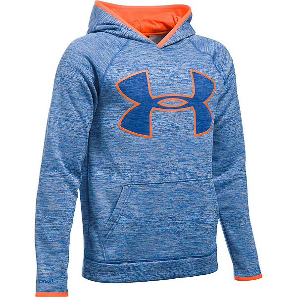 Under Armour AF Storm Twist Highlight Kids Hoodie, Ultra Blue-Blaze Orange, 600