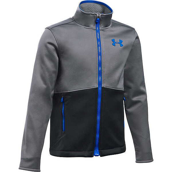 Under Armour ColdGear Infrared Softershell Boys Softshell Jacket, Graphite-Black-Ultra Blue, 600