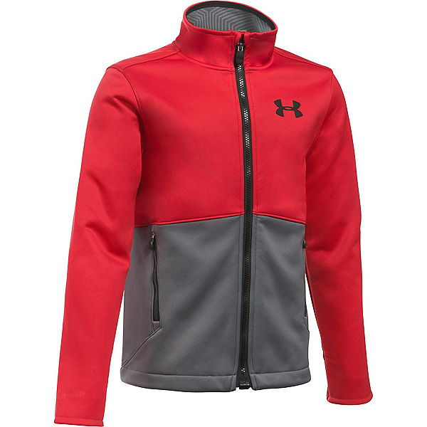 Under Armour ColdGear Infrared Softershell Boys Softshell Jacket, Red-Graphite-Black, 600