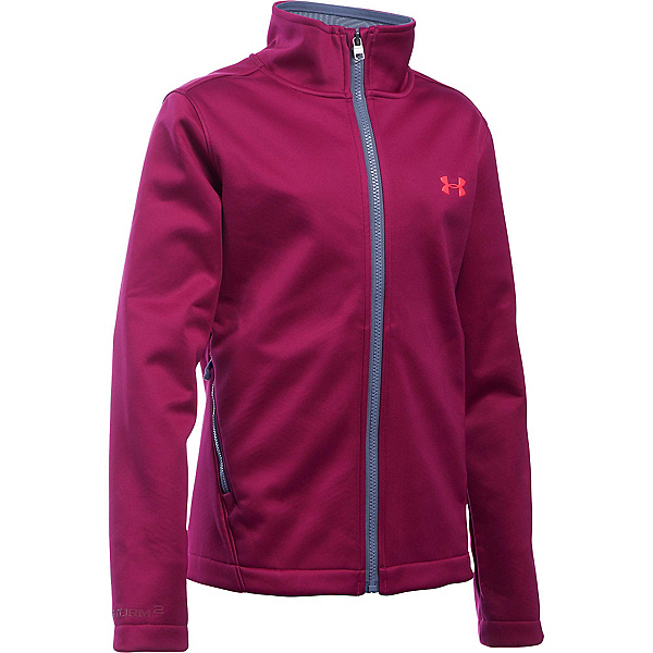Under Armour ColdGear Infrared Softershell Girls Softshell Jacket, Black Cherry-Aurora Purple-Pin, 600