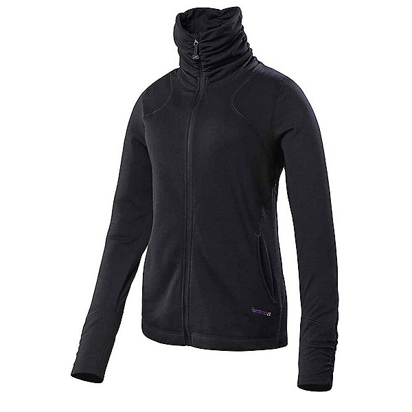 Terramar Thermawool Full-Zip Womens Long Underwear Top, Black Heather, 600